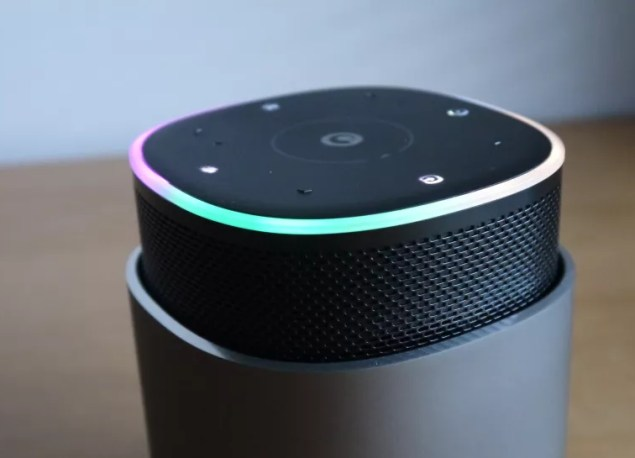 The Pure DiscovR smart speaker lights up to take our commands (Image credit: TechRadar)