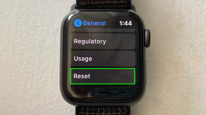 How to reset an Apple Watch — select reset