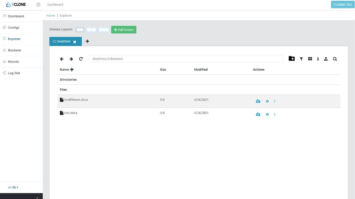 Rclone's graphical user interface for browsing cloud drives