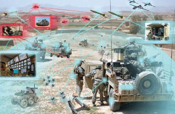 Concept image of a future battlefield featuring drones and autonomous vehicles