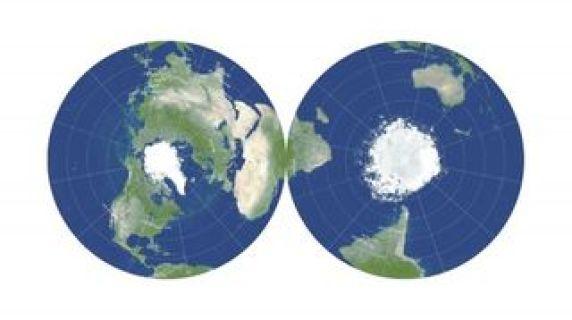 Bu çift taraflı gözleme haritası, Dünya'nın şimdiye kadar oluşturulmuş en doğru düz haritasıdır.