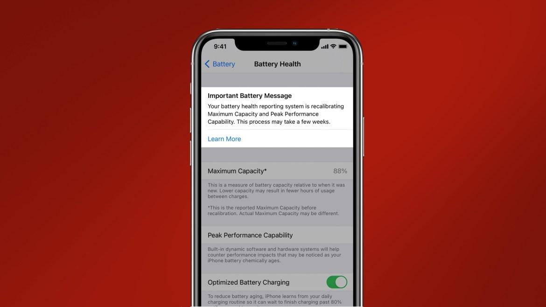 iOS 14.5 battery health calibration tool