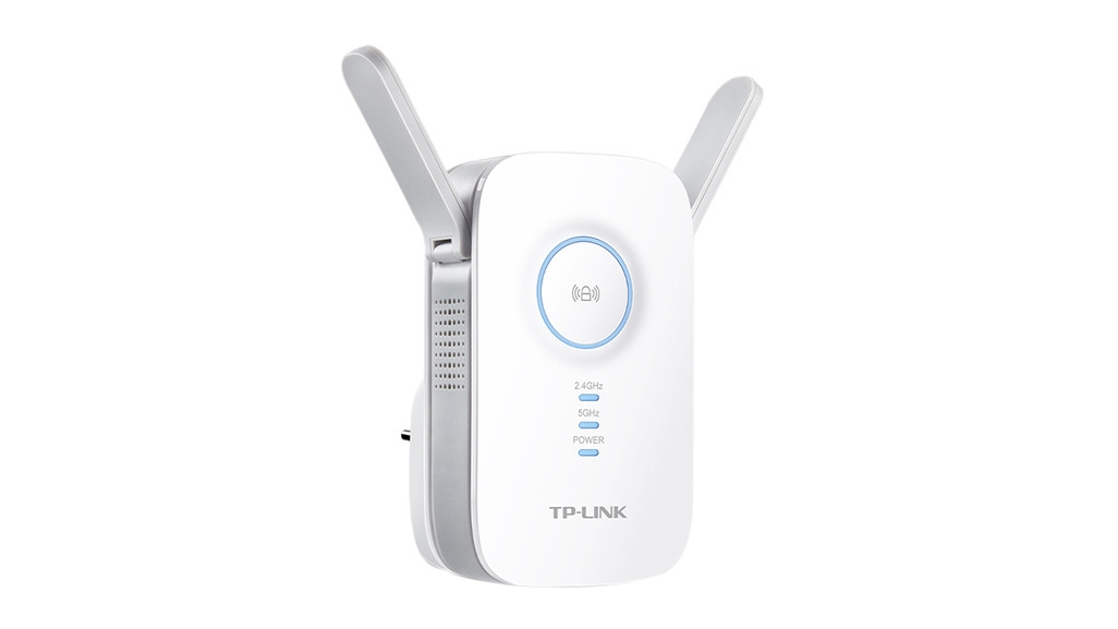 TP-Link RE350 AC1200 Wi-Fi Range Extender from a side angle on a white background