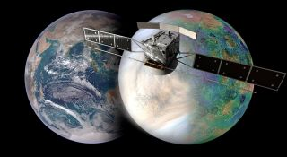 An artist's depiction of Earth, Venus and ESA's EnVision spacecraft.