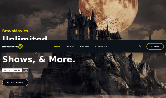 The splash page of the BravoMovies website, the fake streaming service used to spread BazarLoader malware.