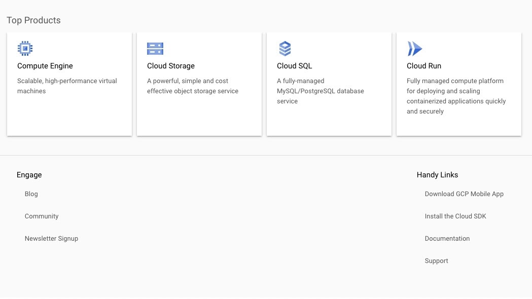 Google Cloud's graphic user interface for creating a server
