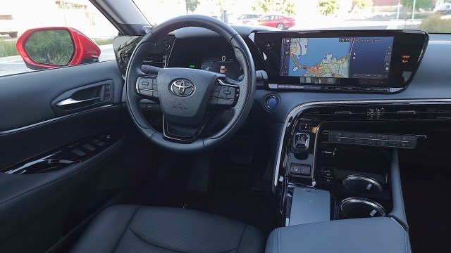 View of the driver's side of the cockpit in the Toyota Mirai (2021)
