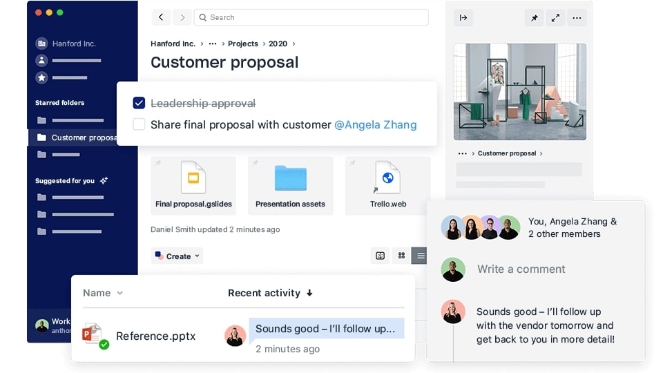 A mocked up version of a Dropbox account management page