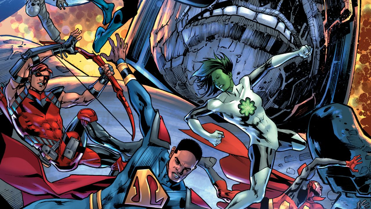 Infinite Frontier: Secret Files #1 cover, with President Superman, Jade, and Arensal fighting off an unseen foe while Darkseid is in the background.