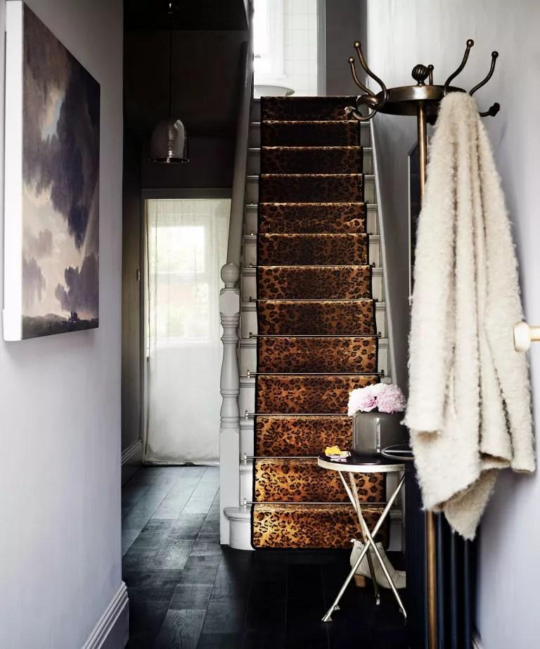 Hallway with leopard print carpet