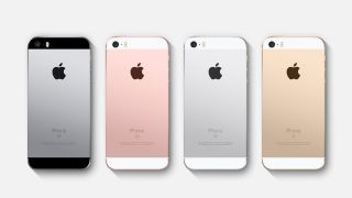 The color range for the iPhone SE, including gold on the far right