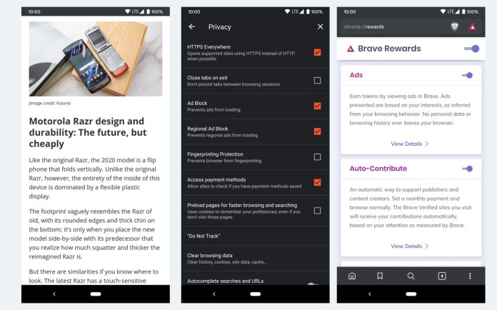 Best Android Browsers: Brave