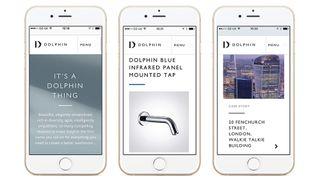 Three iPhones show Dolphin bathrooms' website