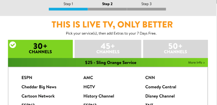 Sling TV free trial - select a package