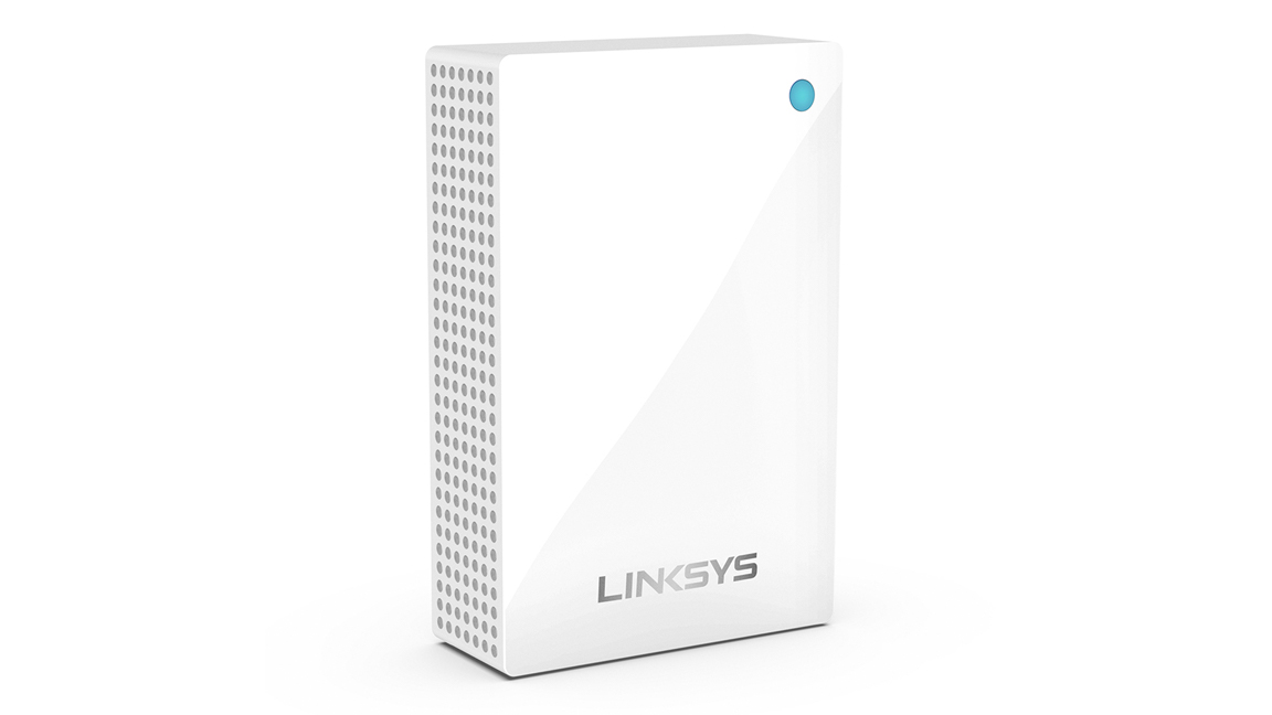 Linksys Velop Wi-Fi extender from aside angle on a white background