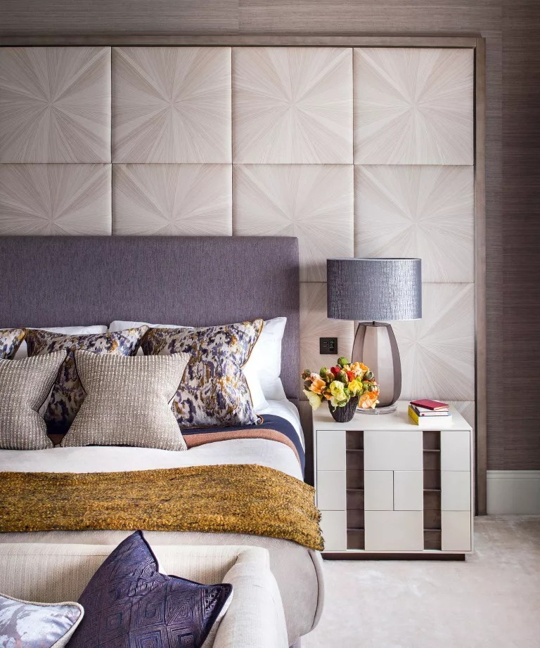 Bedroom accent wall ideas with wall panelling