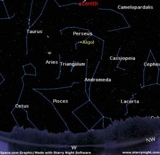 Map of Perseus in the winter night sky.
