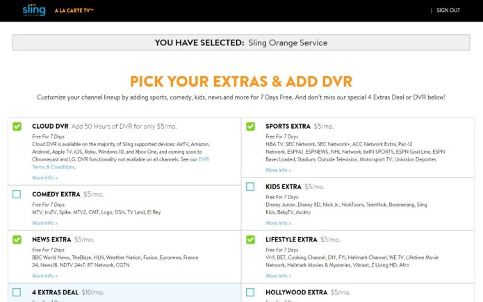 Sling TV free trial - want any extras?