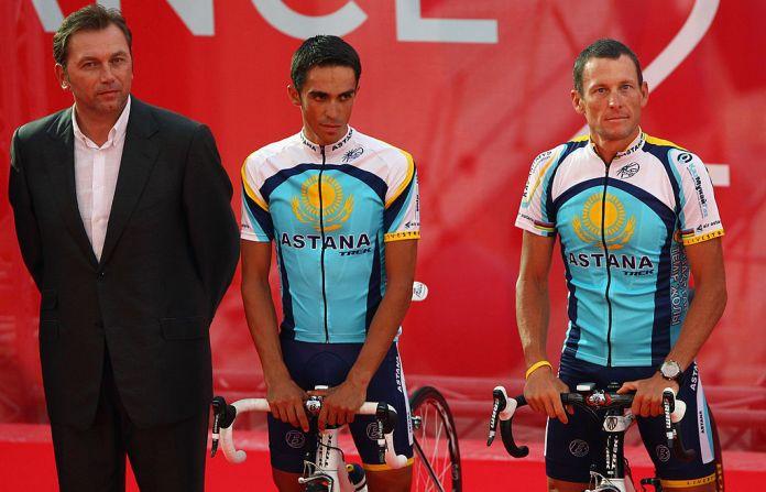 Johan Bruyneel, Alberto Contador and Lance Armstrong