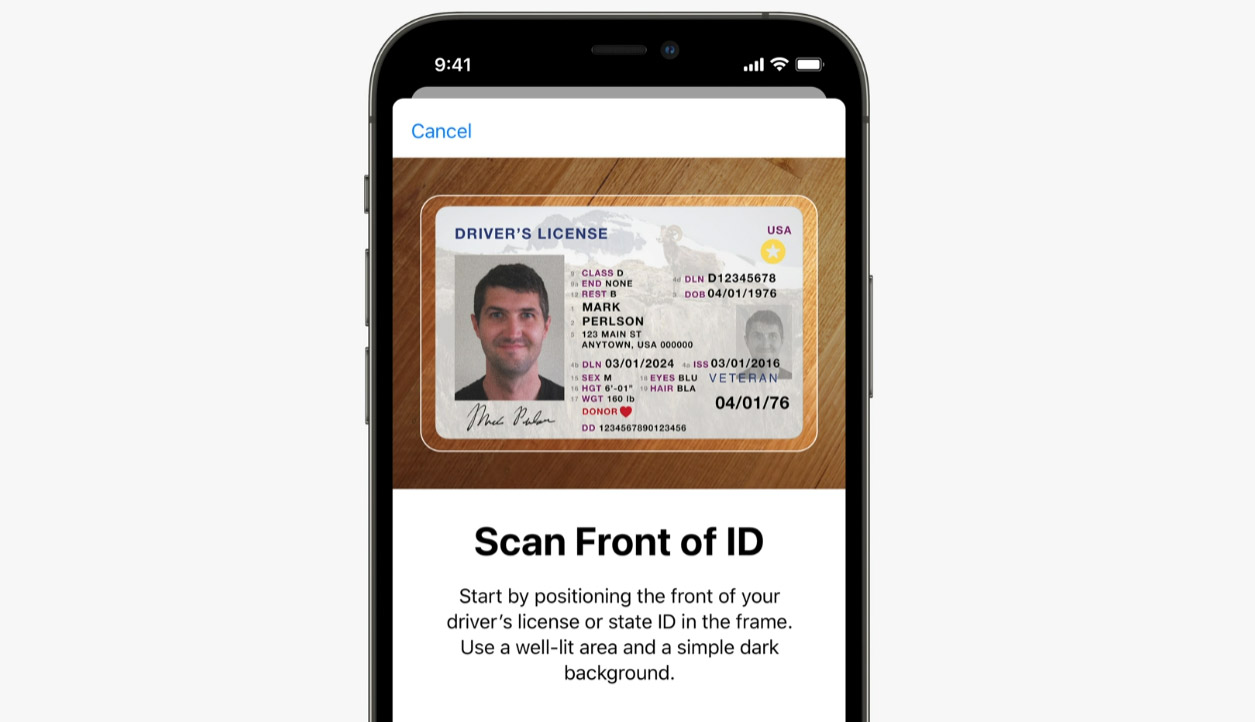 Apple's preview of how you can scan your driver's license into Apple Wallet on an iPhone.