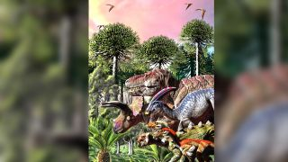 An illustration with representatives from the six dinosaur families included in the study.