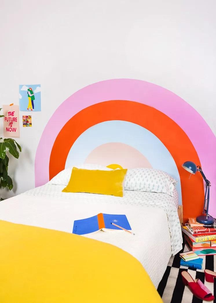 Kids room paint ideas with rainbow painted headboard