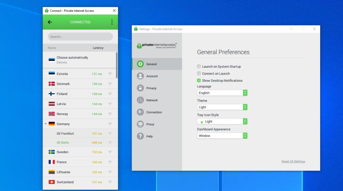 Private Internet Access review - desktop client