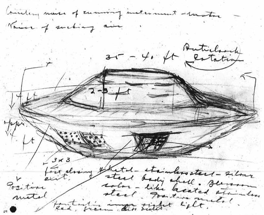Stefan Michalak hizo este boceto del OVNI que encontró en Falcon Lake poco antes de acercarse a él. (Crédito de la imagen: Stefan Michalak / Universidad de Manitoba)