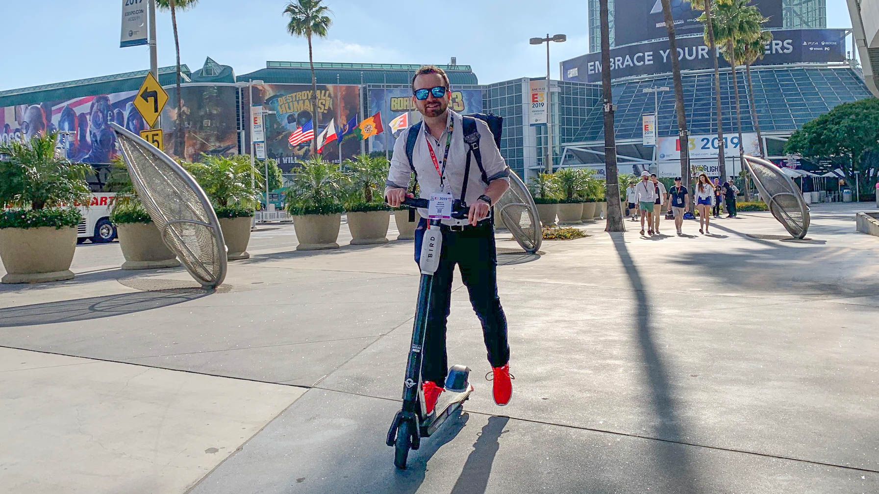 electric scooter outside of the Los Angeles Convention Center in June
