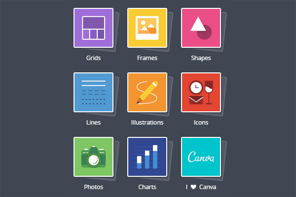 Image shows nine icons, covering: grids, frames, shapes, lines, illustrations, icons, photos, charts and 'I love Canva'