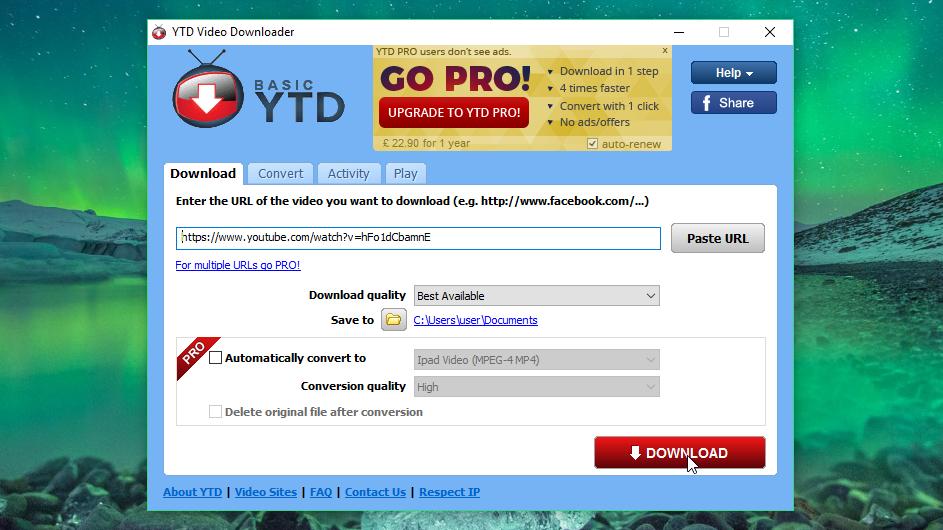 YTD Video Downloader screen grab
