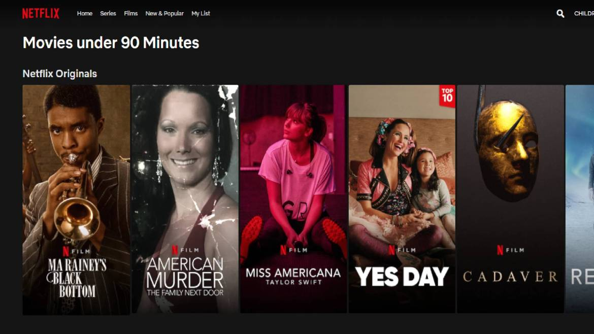 Netflix 90 minutes or less tab