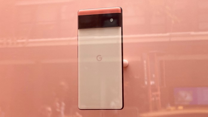 Google Pixel 6 on display in the New York Google store