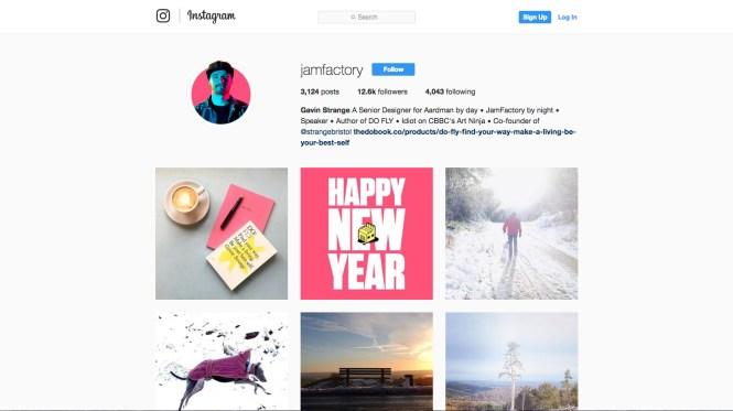 Screenshot of jamfactory's Instagram page