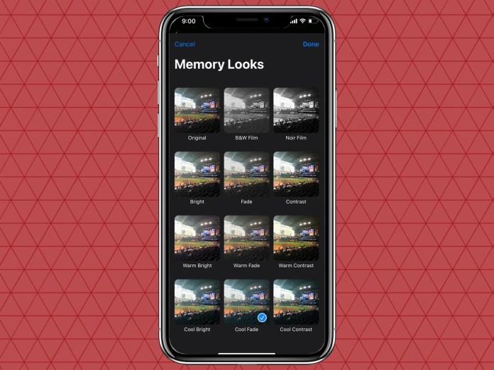 select a filter for iOS 15 Photos Memories