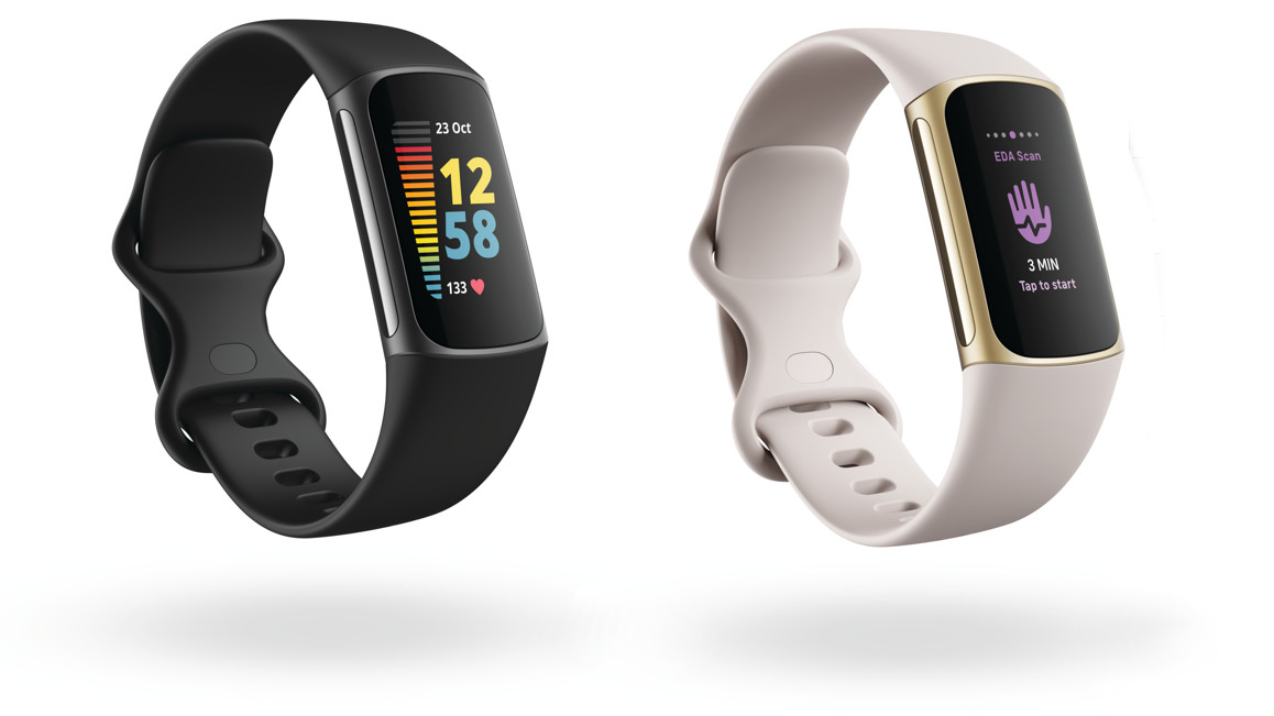 Fitbit Charge 5 in black and lunar white