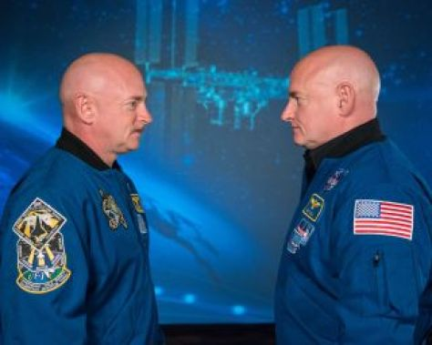 Scott and Mark Kelly at a press event in 2015 before Scott's nearly yearlong stay on the International Space Station. Researchers carefully tracked both twins over the course of the mission and afterward to observe how Scott's body and capabilities changed due to spaceflight.