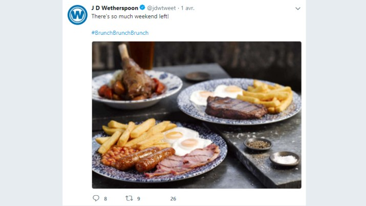 A tweet from JD Wetherspoon