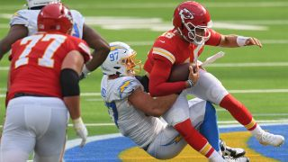 Mahomes getting sacked on a Chargers vs Chiefs live stream