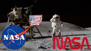 NASA logo: moon landings image super-imposed with meatball and worm logos