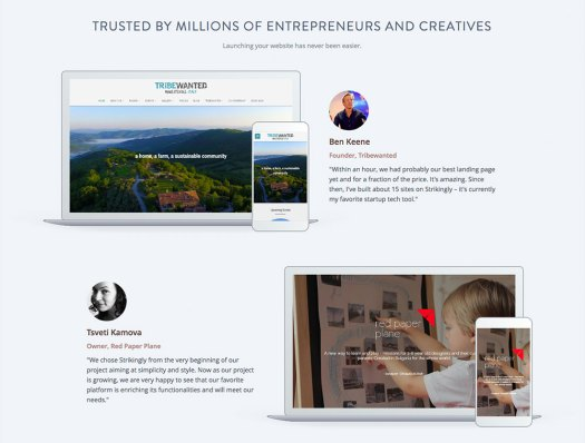 Choose a website builder: Strikingly