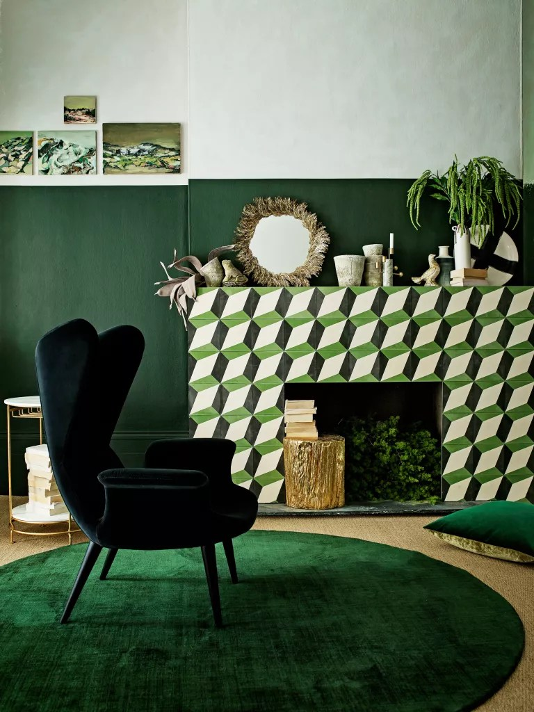 Green living room with tiled fireplace