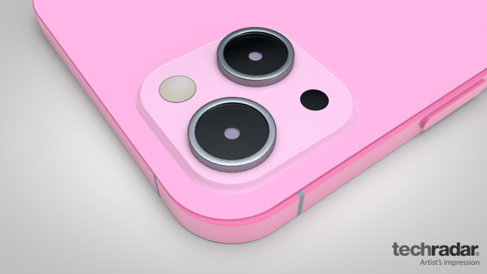 An artist's impression of the iPhone 13 in pink