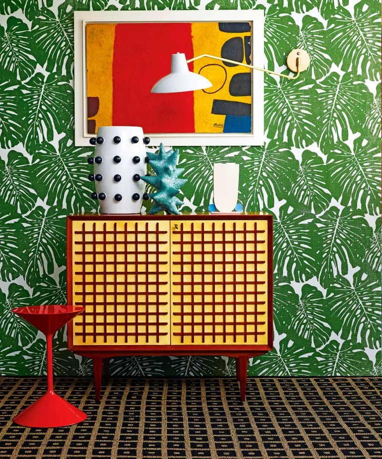 Mid-century modern living room with abstract art