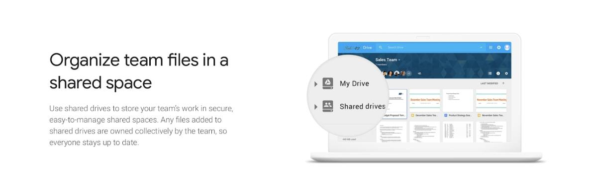 a webpage discussing Google Drive's shared drives functionality