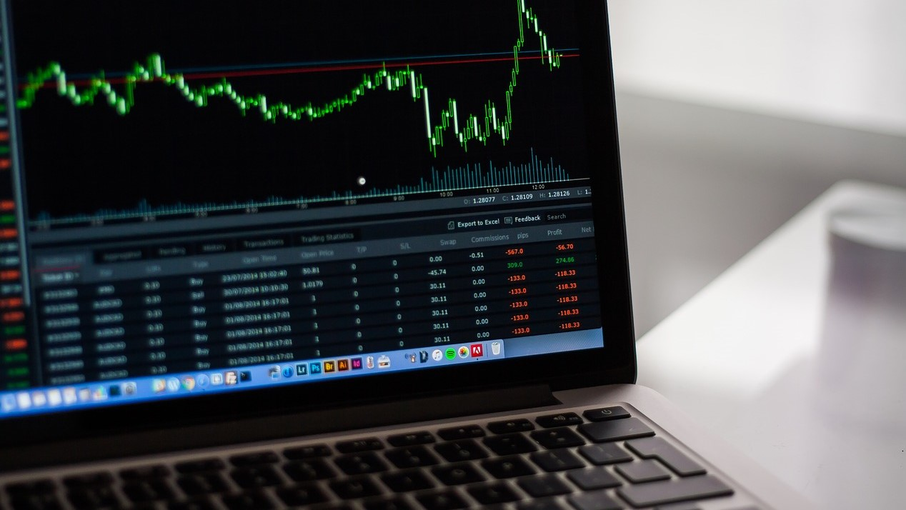 Financial data on laptop screen