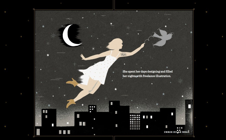Screenshot shows an illustration of a woman in a white dress being carried by a swift over a city skyline at night