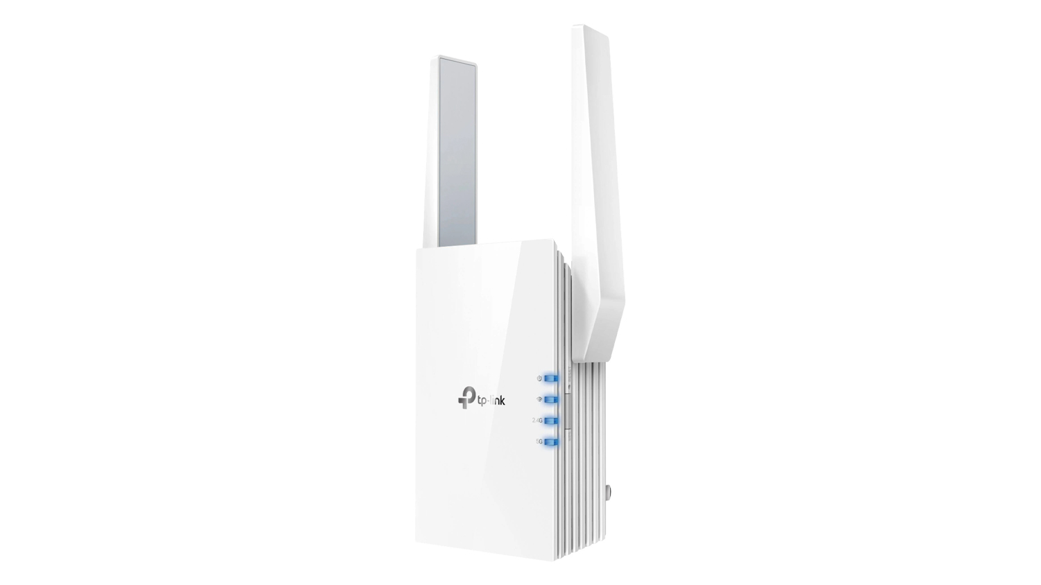 TP-Link RE605X WiFi 6 Range Extender at an angle on a white background