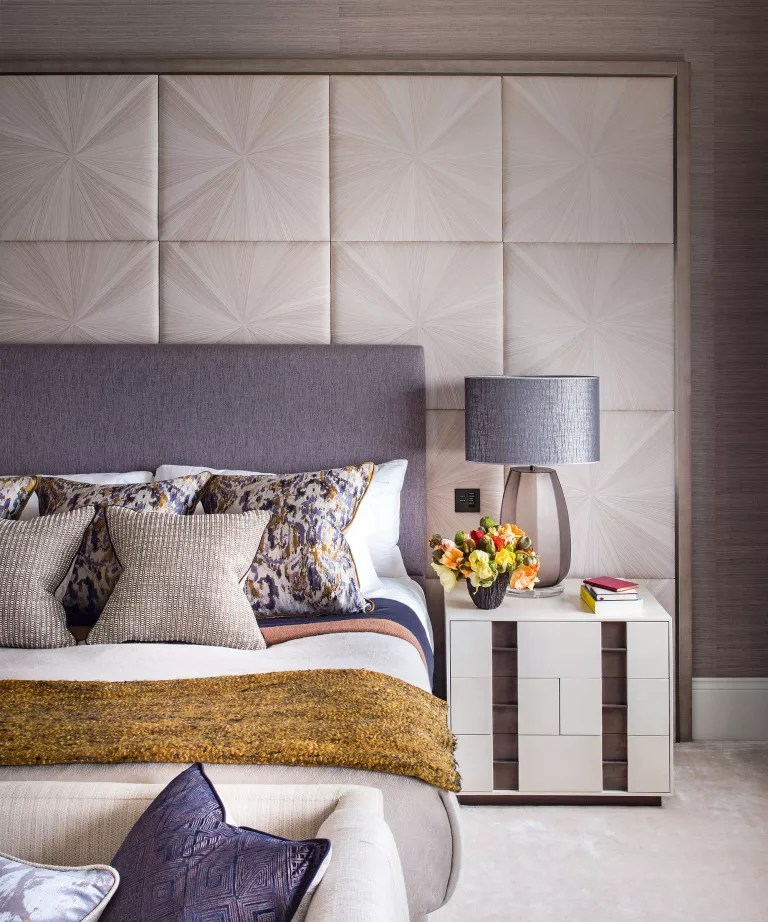 Above the bed decor ideas with wall panelling behind the headboard