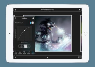 Drawing apps for iPad: Digital art of a robot on an iPad screen